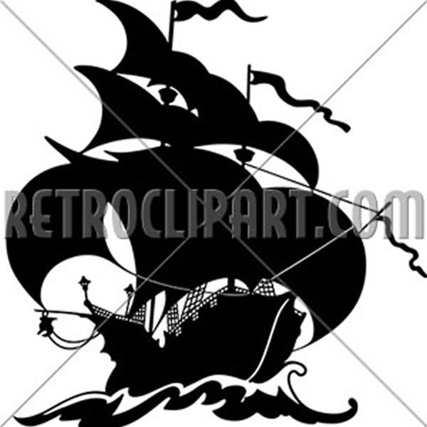 Beautiful Sailing Ship Silhouette