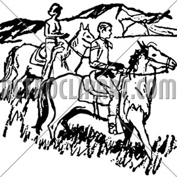 Couple Horseback Riding 3
