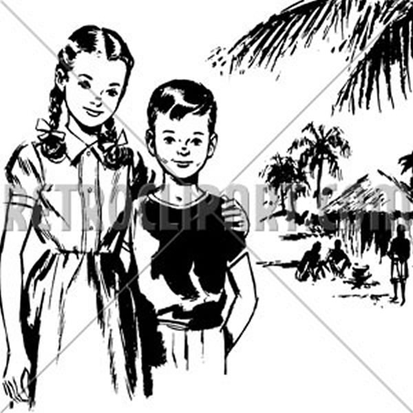 Girl And Boy In Tropics