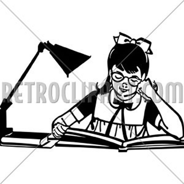 Girl Studying At Desk