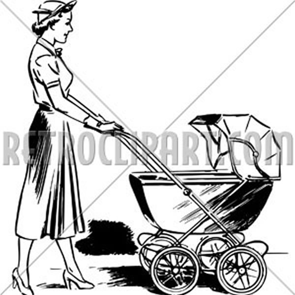 Lady Pushing Pram