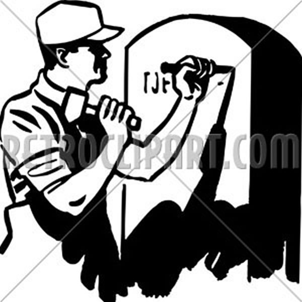 Man Engraving Tombstone