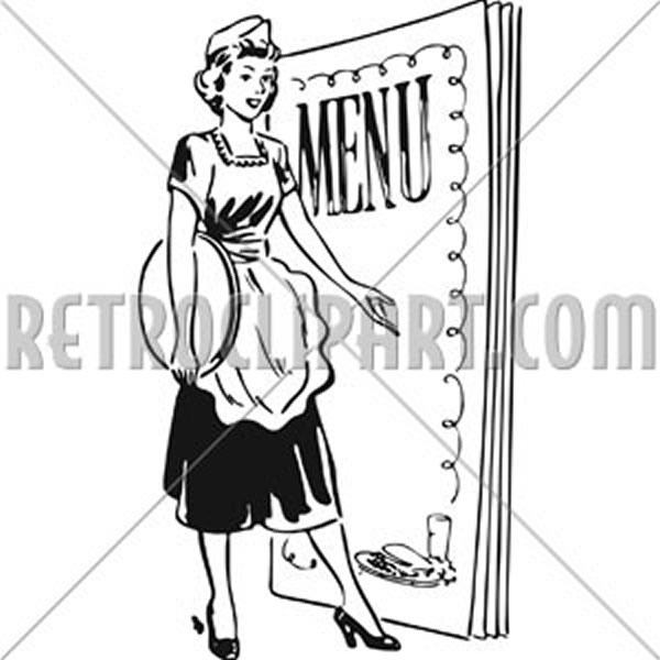 Waitress With Menu Behind